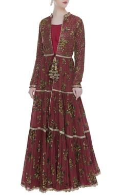 Vikram Phadnis Printed & embroidered tiered kurta jacket