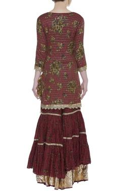 Sequin embroidered kurta with sharara and dupatta