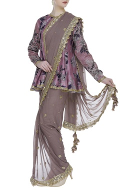 Vikram Phadnis Pre draped sari with printed cape blouse & stretch pants