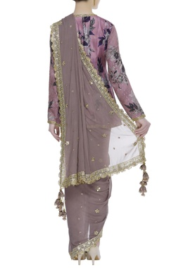 Pre draped sari with printed cape blouse & stretch pants