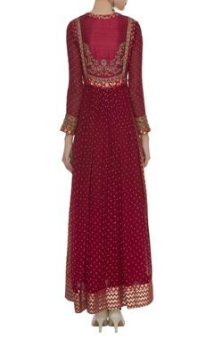 Brocade Anarkali Set With Tassel Waist tie up