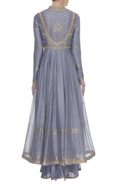 Embroidered Anarkali Set With Pleated Pants