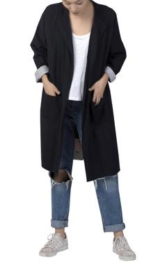 Printed reversible open jacket