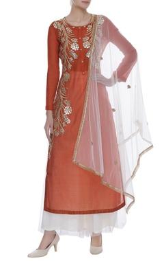Embroidered long kurta with palazzo pants & dupatta