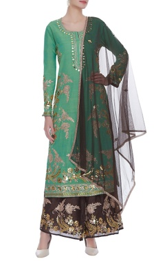 Embroidered long kurta with palazzo & dupatta