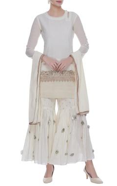 Embroidered straight kurta with gharara pants & dupatta