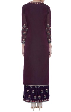 Embroidered straight kurta with palazzo & dupatta
