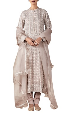 Embroidered kurta set with ruffle dupatta