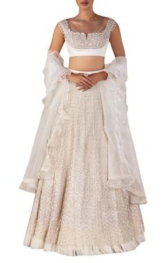 Ridhi Mehra Embellished blouse with lehenga & ruffle dupatta