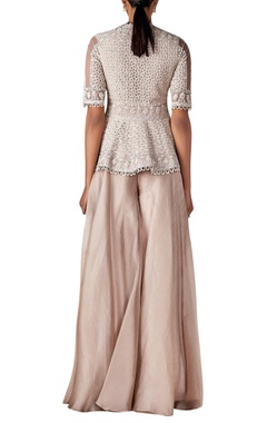 Embroidered peplum jacket with sharara pants