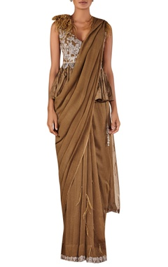 Ridhi Mehra Overlap embellished peplum blouse with sari