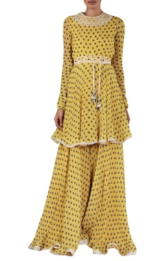 Printed tunic set with waistbelt & ruffle dupatta