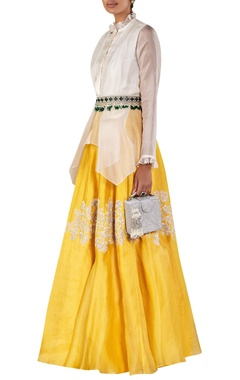 Draped shirt with embellished skirt and jewelled belt