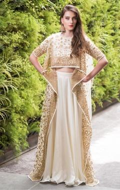 Prathyusha Garimella Asymmetric nakshi, sequin & zari work blouse with lehenga