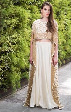 Asymmetric nakshi, sequin & zari work blouse with lehenga