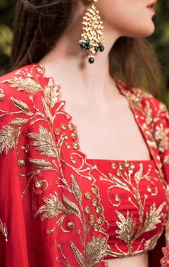 Embroidered cape with crop top & lehenga