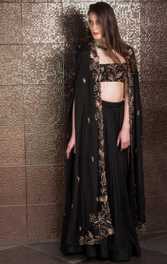 Sequin, zari & nakshi embroidered cape with lehenga & bustier