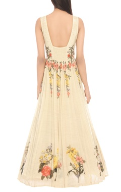 Embroidered maxi dress with stole