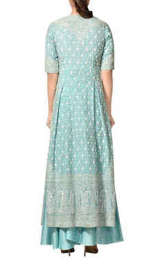 Embroidered kurta with palazzo & dupatta