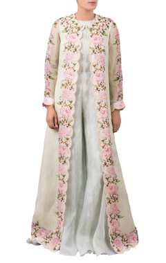 Jumpsuit with scallop embroidered jacket