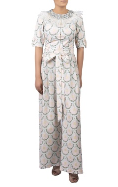 Digital print jumpsuit with feather detail