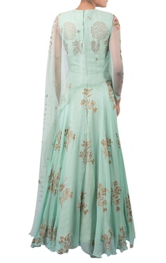 Block print anarkali with attached cape