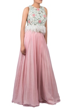 Hand embroidered feather detail blouse with pleated lehenga