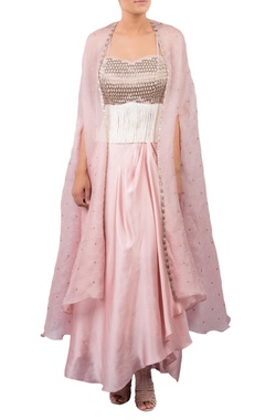 Embroidered bustier with draped skirt & cape