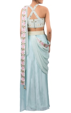 Embroidered sari with blouse, waist belt & printed jacket