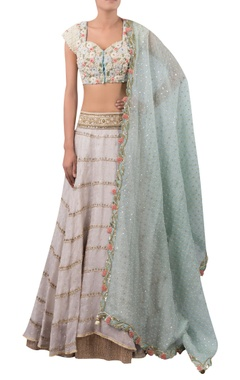 Flower embroidered blouse with lehenga and dupatta