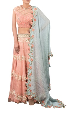 Flower embroidered lehenga set with contrast dupatta