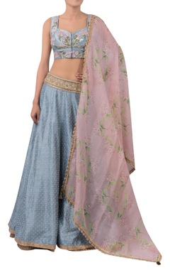 3D flower embroidered blouse with lehenga and dupatta