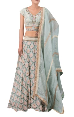 Printed lehenga with moti embroidered blouse set