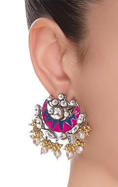 Copper & alloy chandbali earrings