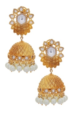 MOH-MAYA by Disha Khatri Jhumkis with kundan & pearls