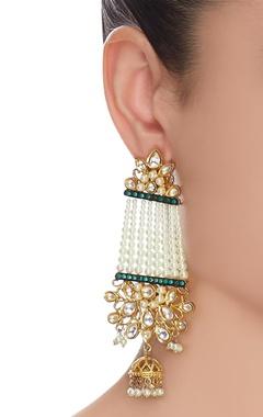 Pearl earrings with pearls & kundan
