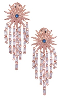 MOH-MAYA by Disha Khatri Floral earrings with blue stone & zircon