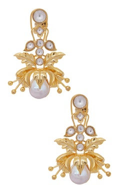 MOH-MAYA by Disha Khatri Pearl floral carved earrings