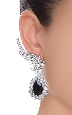 Earlobe stone encrusted earrings