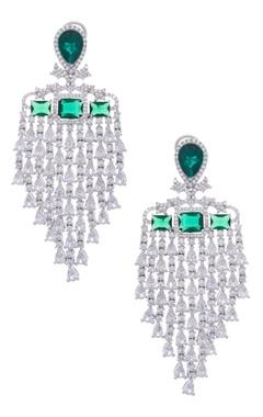 MOH-MAYA by Disha Khatri Stone encrusted earrings with emerald stones