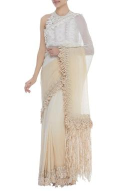 Dilnaz Karbhary Crochet Halter Blouse With Saree