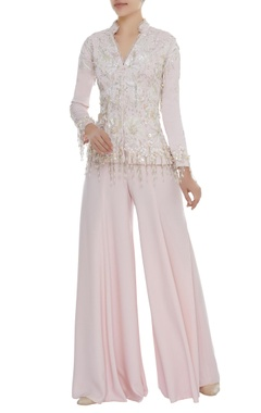 Dilnaz Karbhary Pearl & Crystal Embroidered Jacket With Pants