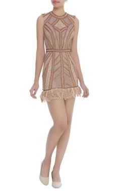 Dilnaz Karbhary Crochet & Fringe Corded Short Dress