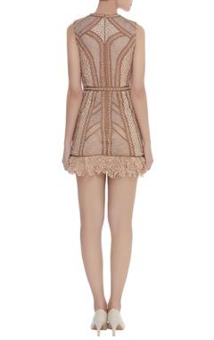 Crochet & Fringe Corded Short Dress