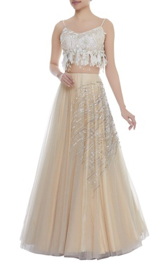 Dilnaz Karbhary Crystal & Pearl Embroidered Crop Top