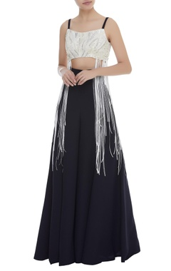Dilnaz Karbhary Sequin & Pearl Crop Top With Ribbons