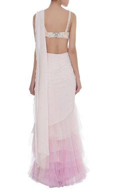 Ruffle Draped Saree With Pearl & Crystal Embroidered blouse