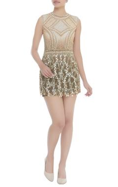 Dilnaz Karbhary Stone & Pearl Beaded Short Dress