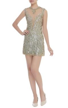 Dilnaz Karbhary Sequins & Crystal Embroidered Sheath Dress