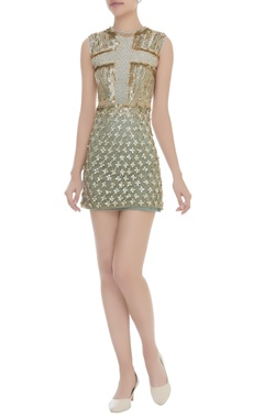 Dilnaz Karbhary Sequins & Pearl Embroidered Short Dress